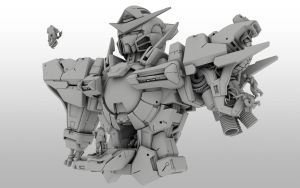 CINEMA 4D - Mobile Suit Gundam 00 GN001 EXIA by fldizayn