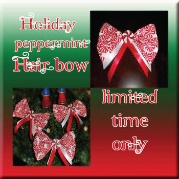 Peppermint Christmas Hairbow by Airashii-Enjuku