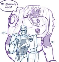 Sketch request: Grimlock and Optimus by Wrecker-lady