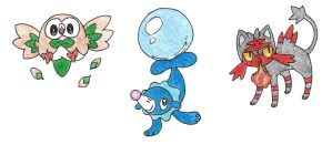 Alola Starters by FrozenFeather