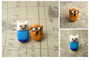 Finn and Jake Earrings by mar-rie