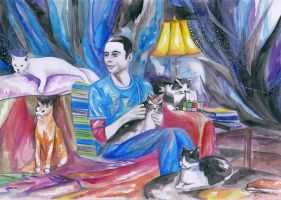Sheldon and cats by snowmarite