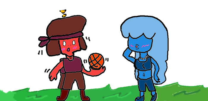 Basketball with Ruby and Sapphire (SU fanart) by FanGirlCow