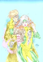Gambit and Rogue by Iago-Maia in color by GordonAlyx