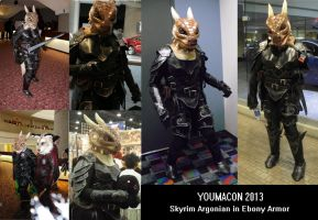 Skyrim Argonian in Ebony armor by Plus3Defense