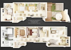 Duplex 3D Plan 02 by M-Fawzi