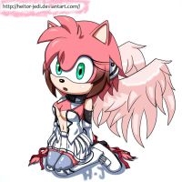 Amy rose as Ikaros Sora no otoshimono by heitor-jedi