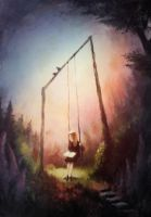 On The Swing - Painting by Bakenius
