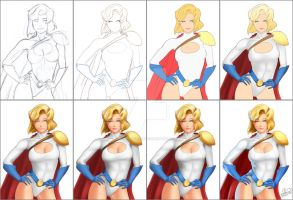 Power Girl JohnPaulART Steps by JohnPaulART