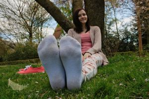 Katharina - Dirty soles with socks on by foot-portrait