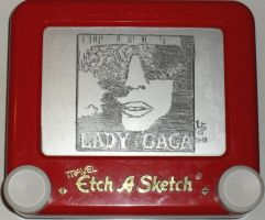 Lady Gaga the fame etchasketch by pikajane
