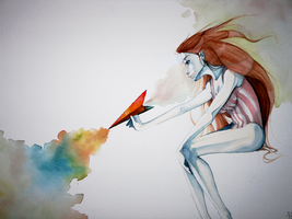 Watercolor Paper Airplane by Fiinche