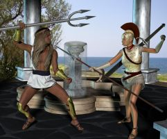 Athena vs Poseidon by Luddox