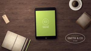 Workspace Tablet Mock-up: Home Office by erigongraphics