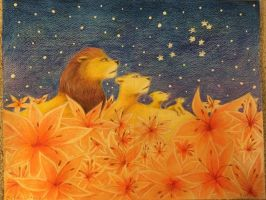 Lions in the field of lilies looking at Leo  by juliartist1226