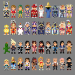 Final Fantasy Characters 8 bit by LustriousCharming