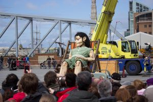 Giant girl sleeping at the Pier Head - Liverpool 2 by Paul-Madden