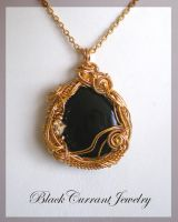 Gold and Black Pendant II by blackcurrantjewelry