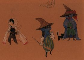 Black Mages + a White Mage by missbooyaka