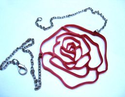Red Rose Acrylic Necklace by milkool