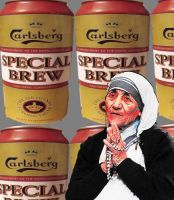 Mother Theresa with special brew background. by sundersart23