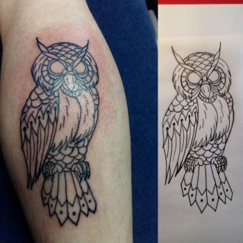 Owl line tattoo by Farlatattoo