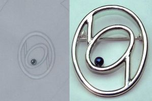 Oval Pin with Pearl by Utinni