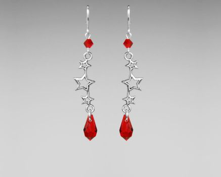 Red Crystal Earrings by YouniquelyChic