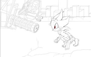Lineart -Shadow the hedgehog by AlicetheHeartless