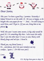 L's letter to Santa Claus by Okami-Moony