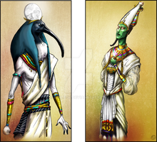Thot and Osiris by Emilie-W