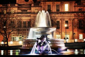 Fountain at Trafalgar Square, London / HDR by TheLovingKind89