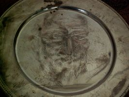 Engraving on a metal plate - G. B. Shaw by in2ni