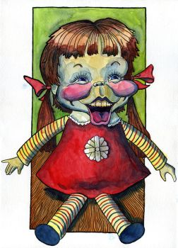 Scary Baby Laugh A-Lot doll from the 1970s by Caricature80