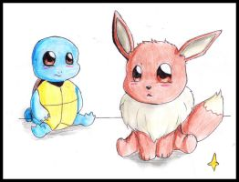 Squirtle and Evee by FuriarossaAndMimma