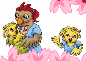 More Cartoon Chickens by ErinPtah