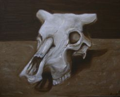 Old Master Cow Skull Painting by LainMokoto