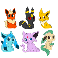 6 eeveelutions by Komoroshi