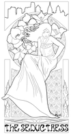 The Seductress Lineart by goldendragonqueen32