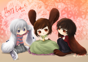 Chibi Easter bunnies by k1216