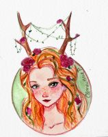 Deer Girl by clementine-petrova