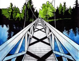 Wanakena Footbridge by Luthienshadows