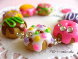 Cute donuts charm bracelet by virahandmade