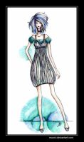 Striped dress design by Muoni