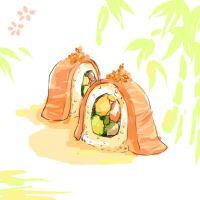 salmon sushi by luthienelf