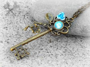 Blue Cherry Blossom Key Necklace by ArtByStarlaMoore