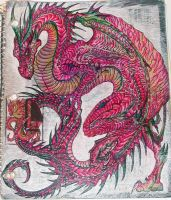 Scaley Red Notebook Dragon by whether-girl