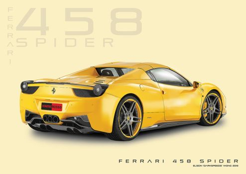 Ferrari 458 Spider TECHNICAL DRAWING (Illustrator) by darkspeeds