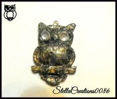 gold owl pendant- polymer clay by gothicstella