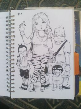 Inktober Challange day 3: A Happy family by deena-chan